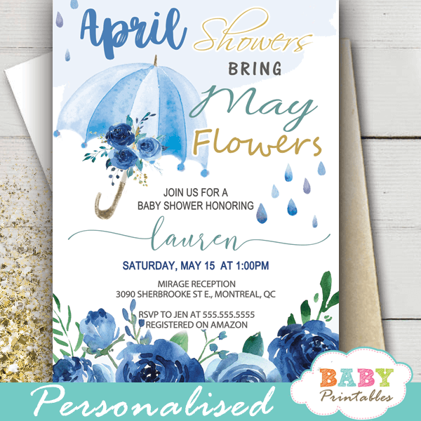 floral blue umbrella April Showers Bring May Flowers Invitations spring boy