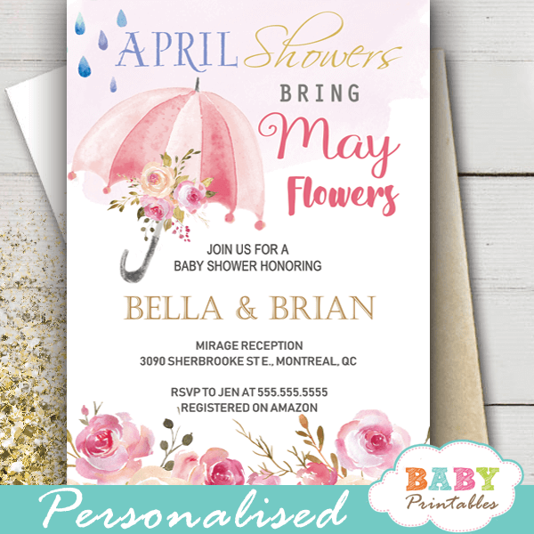 floral pink umbrella April Showers Bring May Flowers Invitations spring girl