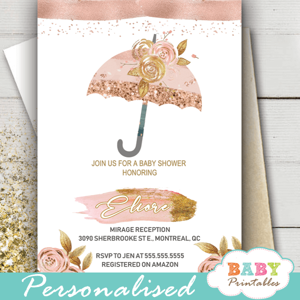 rustic rose gold baby shower invitations girl