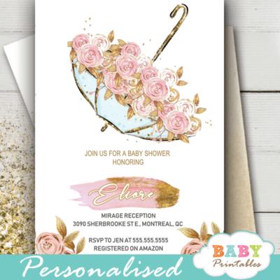 vintage pink gold floral baby shower invitations girl umbrella
