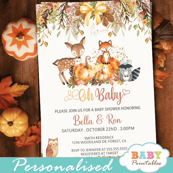 Fall Theme Woodland Baby Shower Invitations