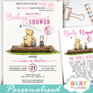 Girl Pink Winnie The Pooh Baby Shower Invites