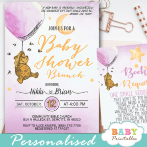Girl Winnie The Pooh Baby Shower Invites