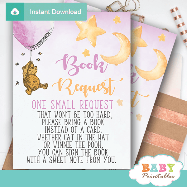Girl Winnie The Pooh Book Request Cards