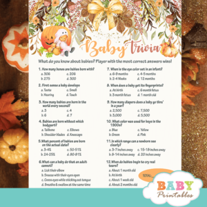 trivia baby shower game pumpkin fall theme