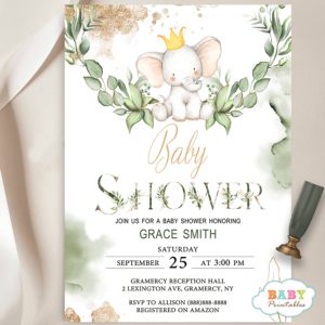 Gender Neutral Greenery Elephant Baby Shower Invites