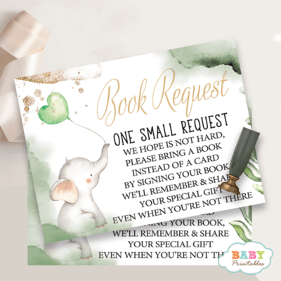 Gender Neutral Greenery Elephant book request cards for baby