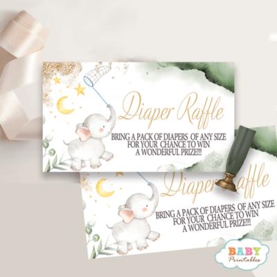 Gender Neutral Greenery Elephant diaper raffle tickets