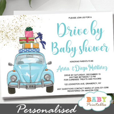 Blue beetle car Boy Drive By Baby Shower Invitations