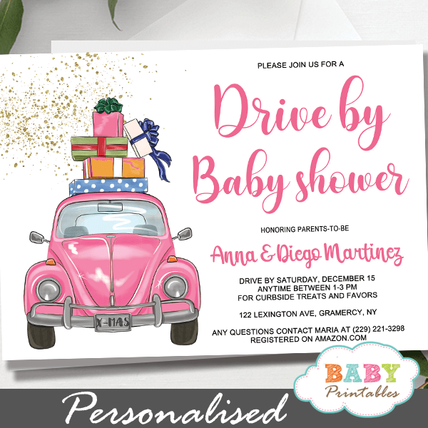 Pink Beetle car Drive By Baby Shower Invitations girl