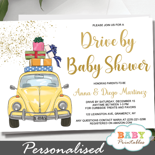 yellow Beetle car Drive By Baby Shower Invitations gender neutral