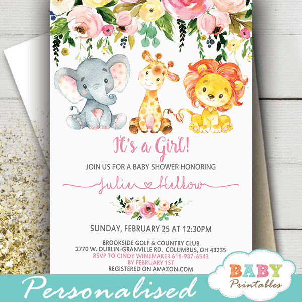 pink jungle animals baby shower invitations watercolor floral spring bouquet girl