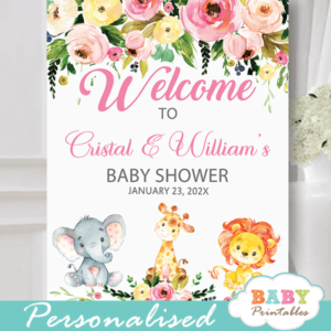 pink girl safari jungle animals baby shower welcome sign floral watercolor elephant giraffe lion