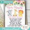 pink jungle animals book request cards lion giraffe elephant watercolor floral girl