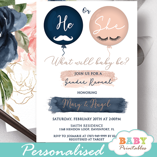 he or she Gender Reveal Lashes or Stashes Invitations, Blush Navy Balloons